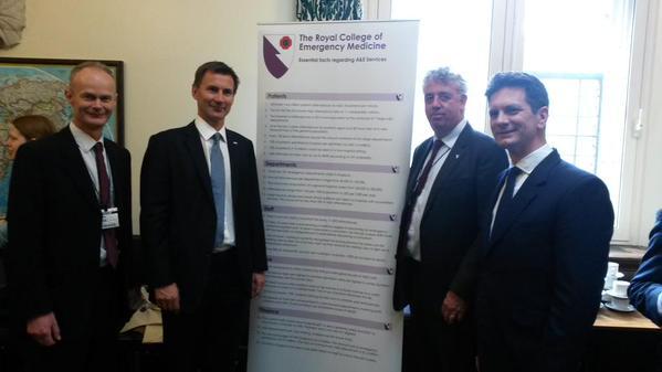 Richard Corbett (CE Healthwatch Bucks), Rt Hon Jeremy Hunt MP (Secretary of State for Health), Cliff Mann (President RCEM), Steve Baker MP