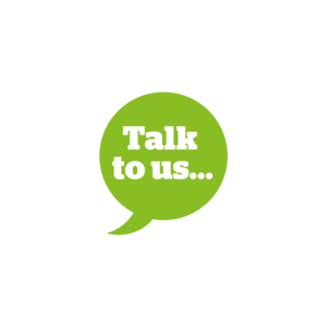 Speech bubble with Talk to Us inside