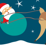 Santa and rudolph cartoon