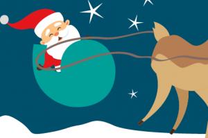Santa and rudolph cartoon