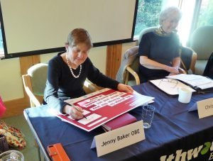 Our Chair, Jenny, Signing Time to Change Pledge