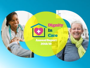 Dignity in care Annual Report 2018-19, smiling member of staff and smiling older woman